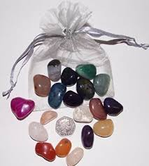 chakra stones in drawstring bag